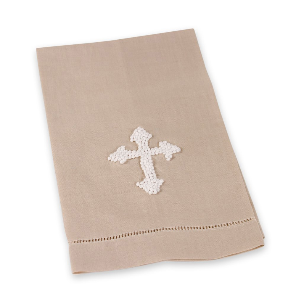 French Knotted White Cross Oat 22 x 14 Inch Linen Blend Hand Towel by The Royal Standard