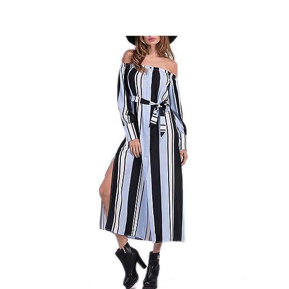 HBYJY Fashion Mulheres listrado vestido longo NEW hot sale sexy de slash pescoço divisão vestidos de