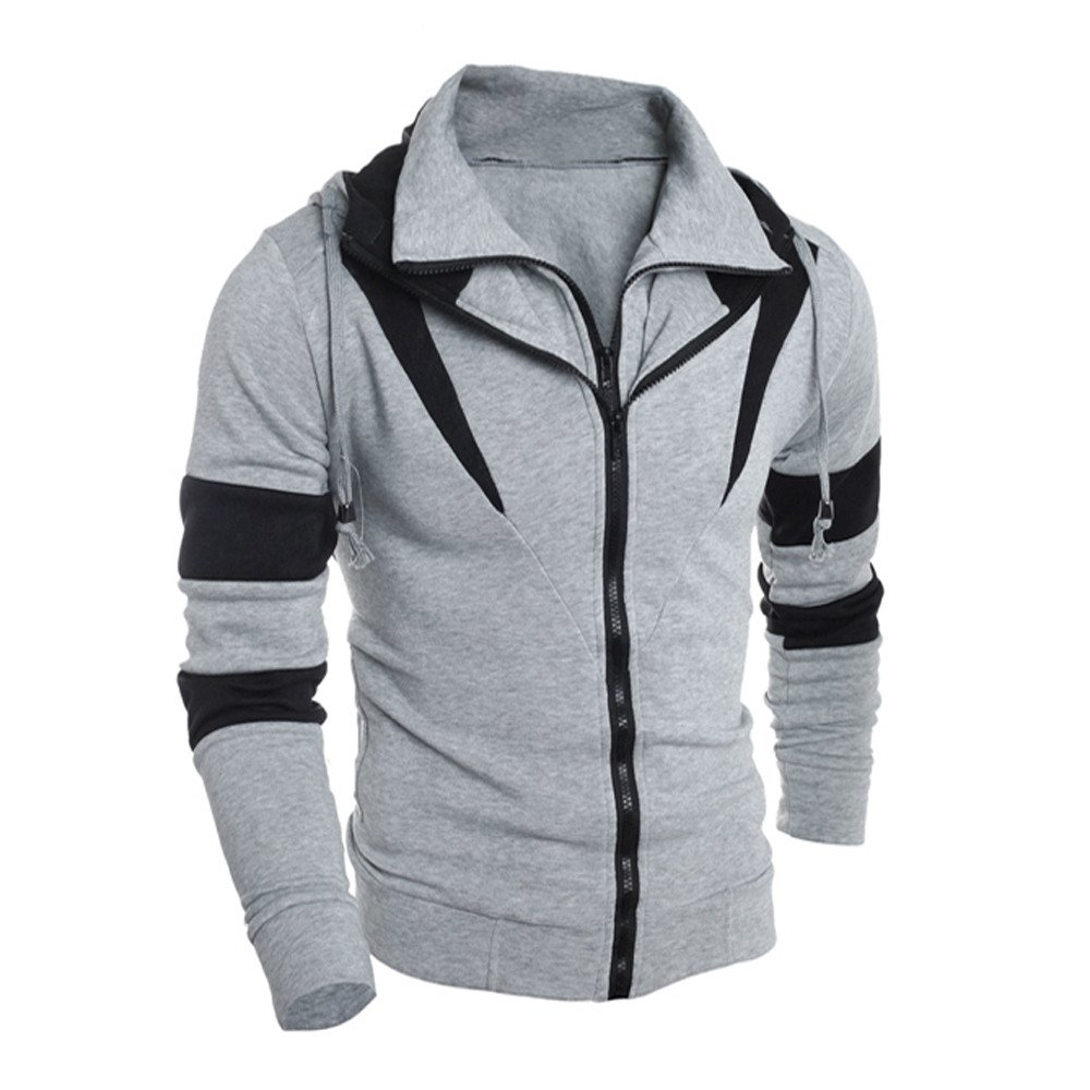 Hoodie For Men,Clearance Sale-Farjing Men Retro Long Sleeve Hooded Sweatshirt Tops Jacket Coat Outwear (L,Gray )
