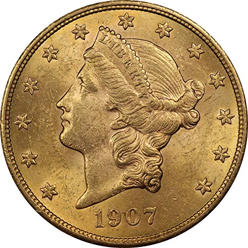 1907 U.S. Liberty Head Gold Double Eagle Coin, Mint State Condition, Philadelphia Mint