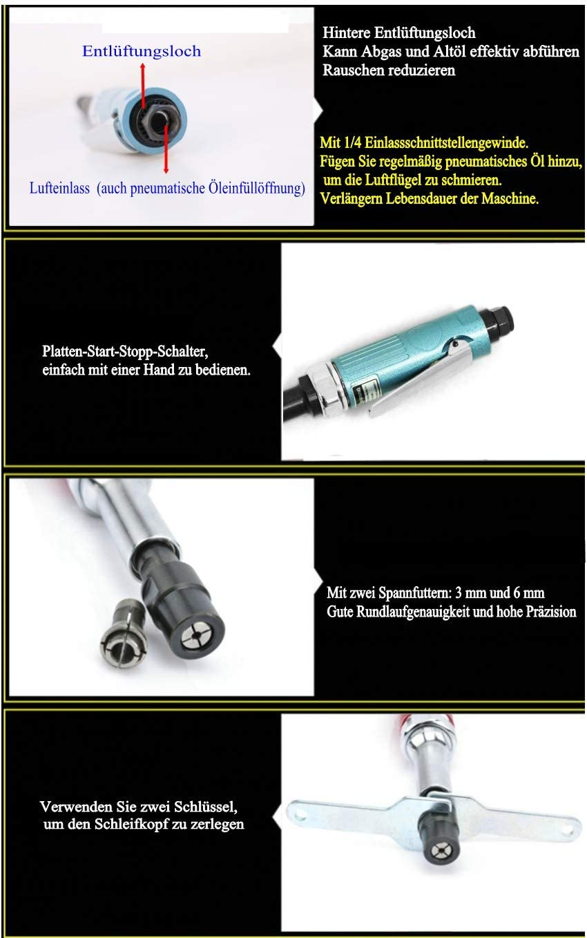N 1//8 Professionnel Mini Moulin /à Broyeur /à Air comprim/é Meuleuse Droite N 1//4 Droite Longue 6mm // 3mm