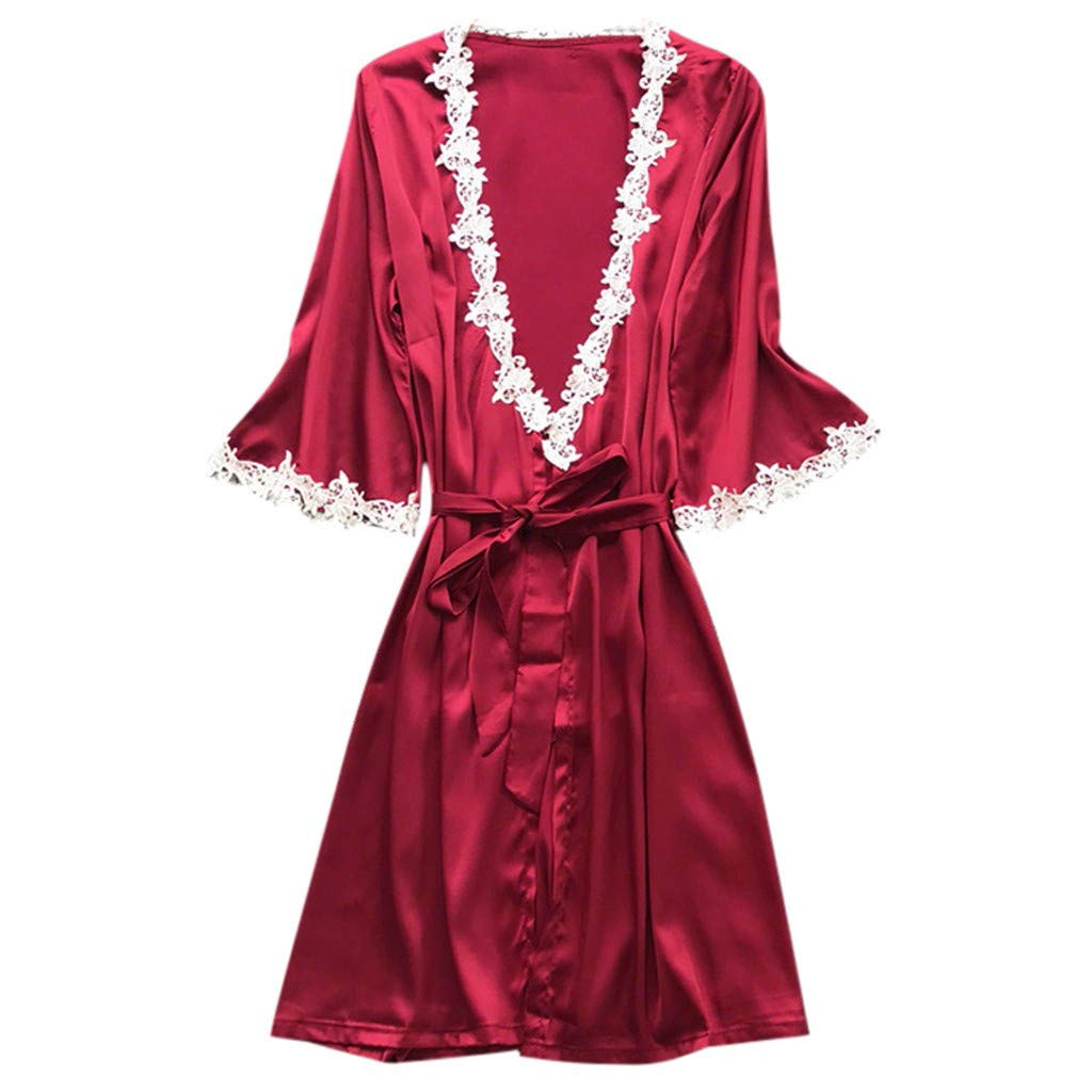 Women's Elegant Silk Satin Sleepwear Kimono Robe Pajamas Deep V Temptation Lingerie High Waist Bathrobes Night Dress (Wine, XXL)