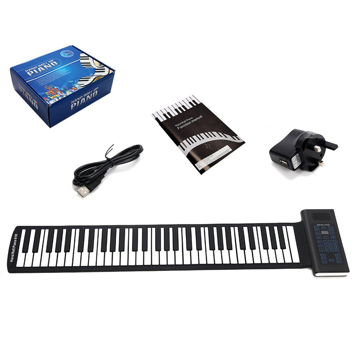 61 Keys GYMAX Portable 61 88 Keys Rollup Piano Keyboard Digital Electronic Soft Kids Xmas Musical Toy (61 Keys)