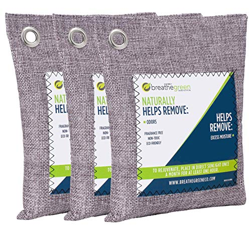 Breathe Green Bamboo Charcoal Odor Eliminator Bag (3 Bags), Activated Charcoal Odor Absorber, Natural Freshener Removes…