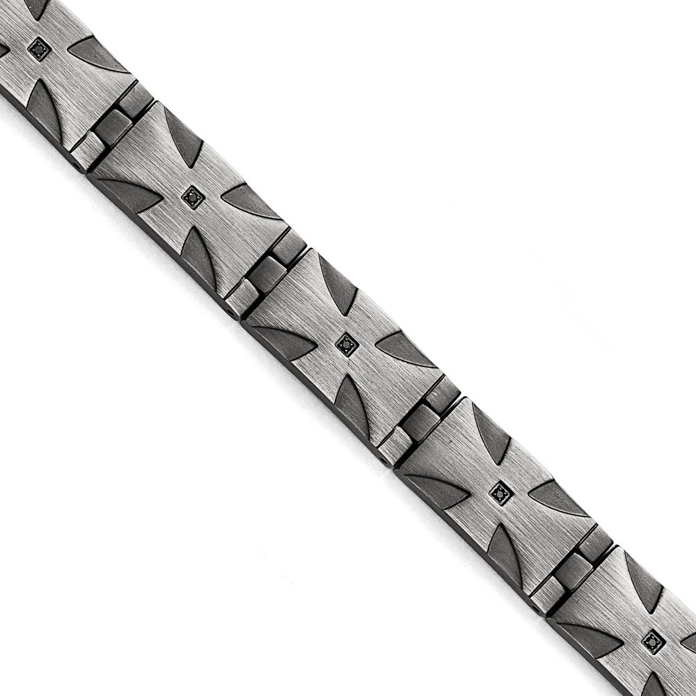 13mm Antiqued Stainless Steel & Black Diamond Cross Bracelet, 8.5 Inch
