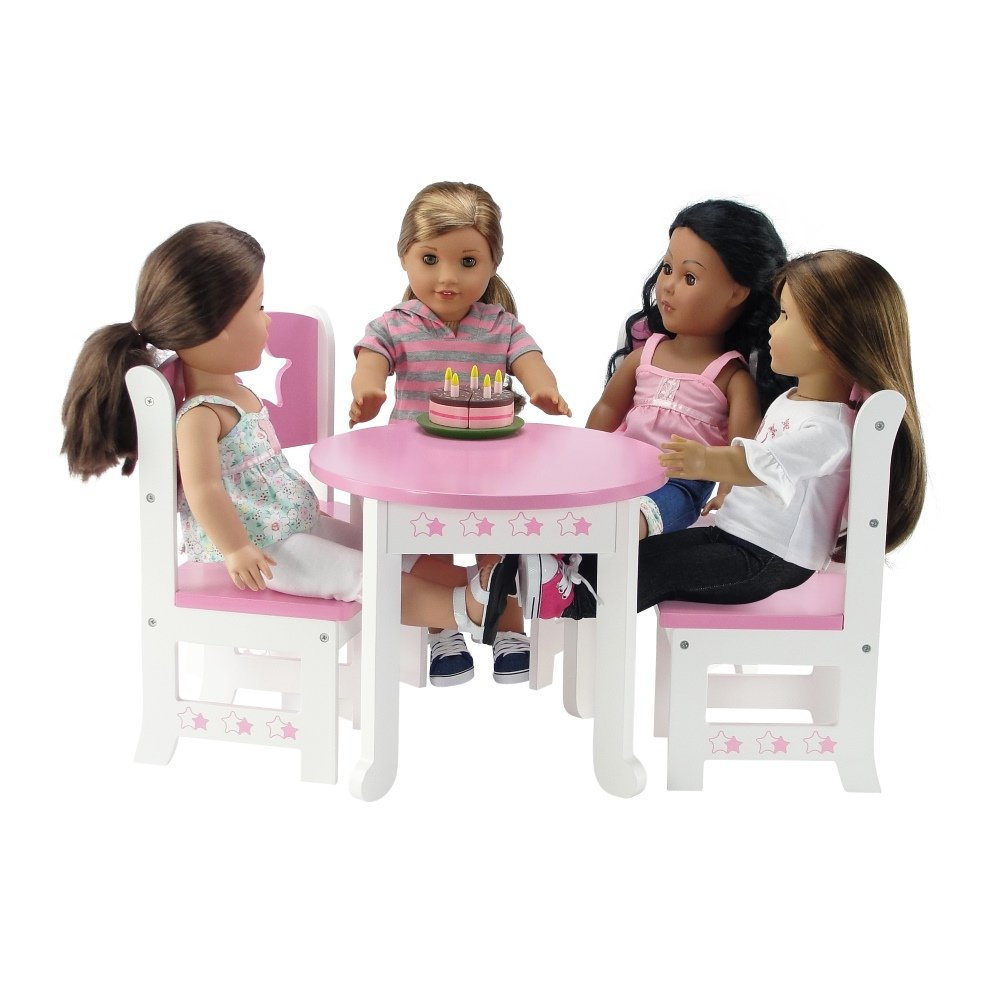 Emily Rose 18 Inch Doll Furniture | Lovely Pink and White Table and 4 Chair Value Pack Dining | Fits American Girl Dolls (Star Theme)