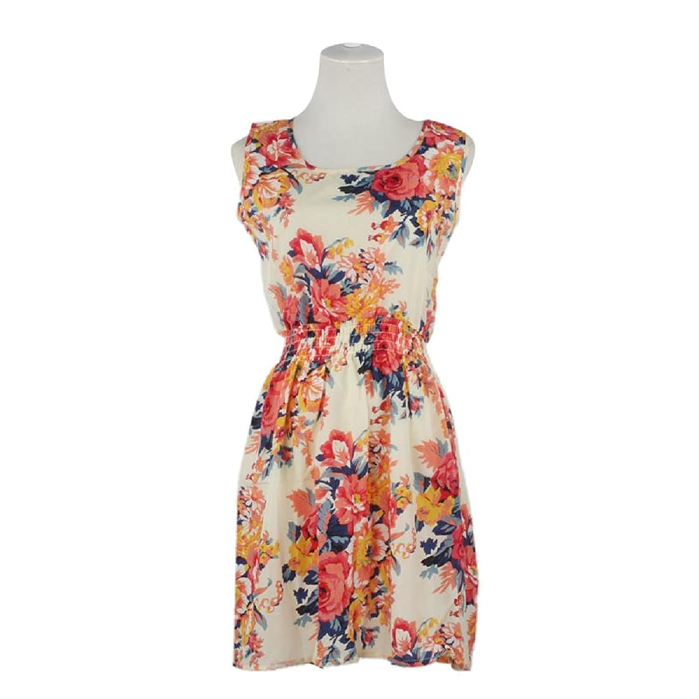 Frauen Kleid,Xinan Frauen-Sommer-Sleeveless Blumendruck -Chiffon- beiläufige Strand-Minikleid