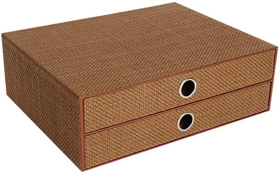 HLWAWA Officeファイル引き出しタイプのデスクトップ織紙マルチレイヤ書棚仕上げデスクラック (Color : Brown)