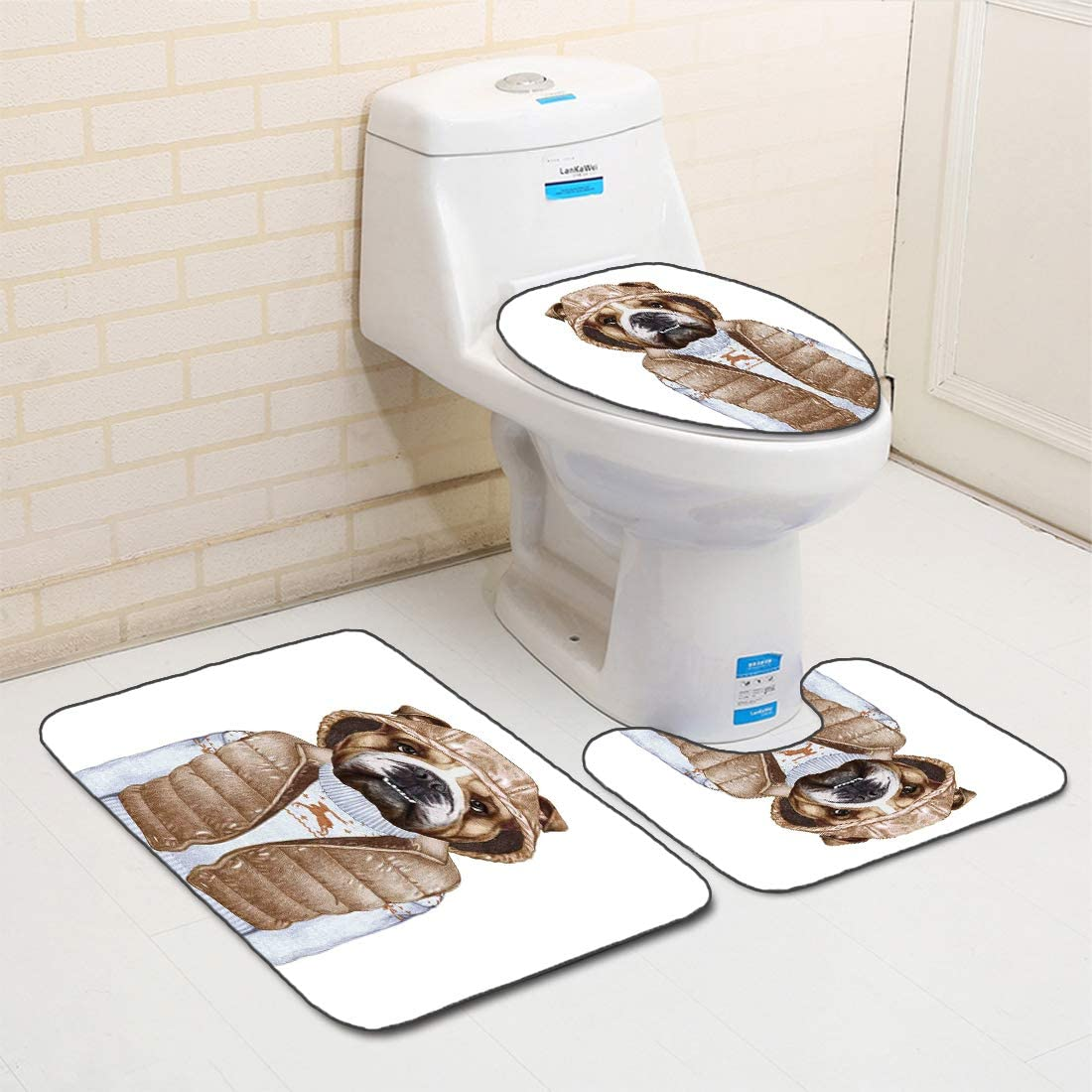 3Pcs Non-Slip Bathroom Rug Toilet Seat Lid Cover Set Bulldog Soft Skidproof Bath Mat Illustration of Urban Puppy as a Human in a Down Vest and Xmas Sweater,Pale Brown Baby Blue Absorbent Doormat Bedro