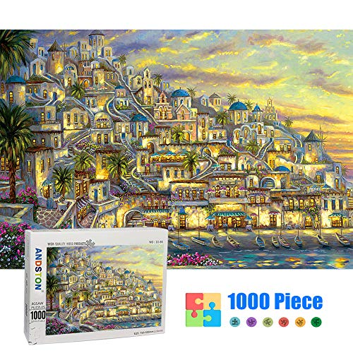 Jigsaw Puzzles for Adults 1000 Piece Puzzle for Adults 1000 Piece - Romantic Greek Town - 1000 Piece Puzzle Large Wooden Puzzles Kids Educational Game Toys Gift for Home Wall Decoration