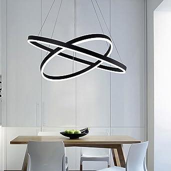 Lieblich 60W LED Pendelleuchte Modern Elegant 2 Ring Runden Entwurf Pendelampe  Schwarz Metall Lampenschirm Hängelampe Für Schlafzimmer Wohnzimmer  Kücheninsel ...