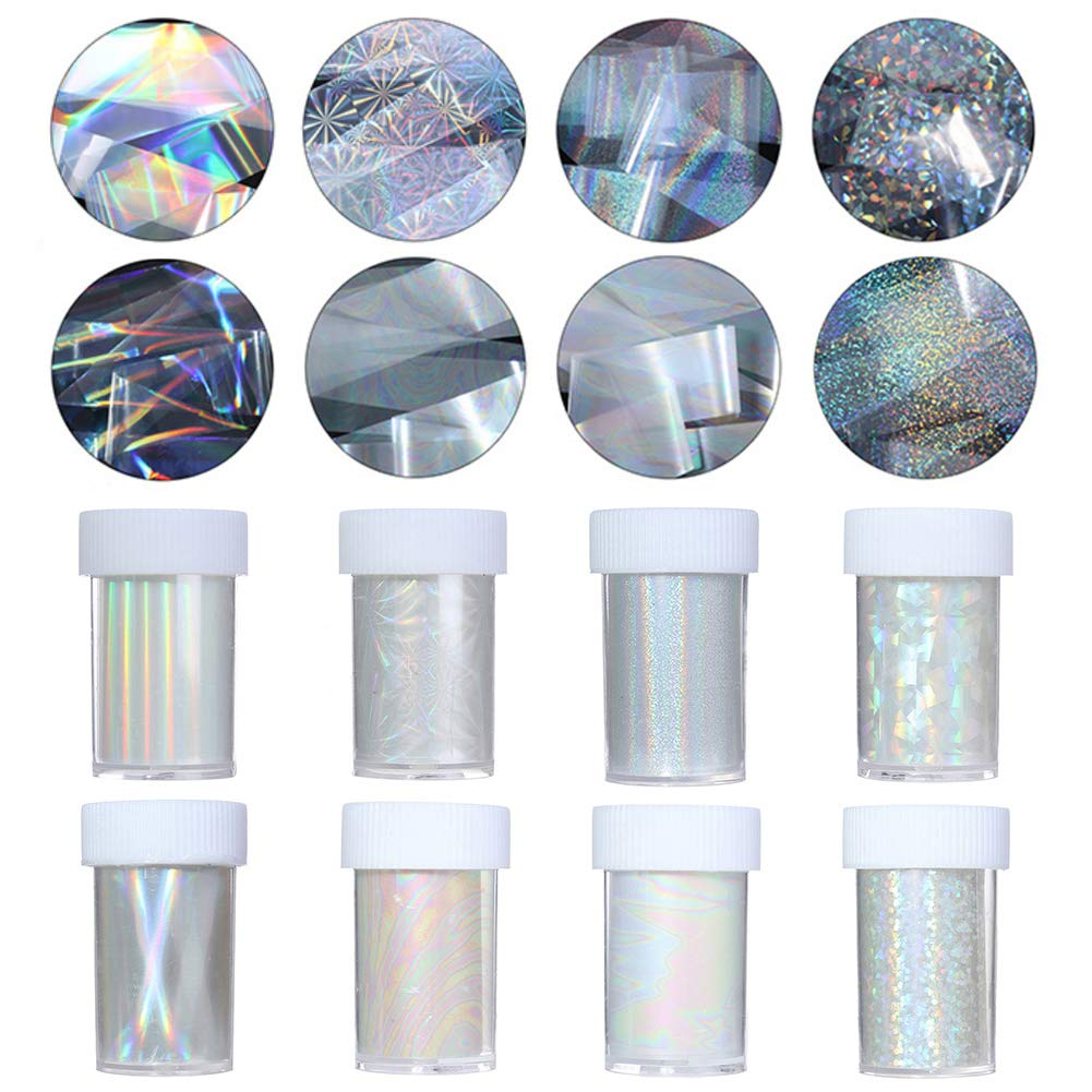 NICOLE DIARY Holographic Starry Nail Foil Colorful Flower Manicure Nail Art Transfer Sticker 9 Rolls 4x100cm (set 1)