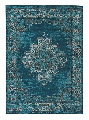 Ashley Furniture Signature Design - Moore Area Rug - 8' x 10' Large Size - Traditional - Blue/Teal
