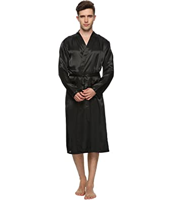 FAYBOX BRIDAL Men Satin Robe Long Bathrobe Lightweight Dressing ...