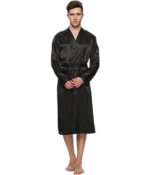 d5c34e44a4 FAYBOX Men Satin Robe Long Bathrobe Lightweight Sleepwear at Amazon ...