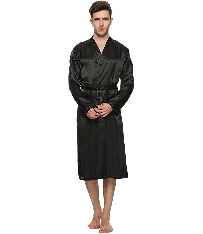 FAYBOX BRIDAL Men Satin Robe Long Bathrobe Lightweight Dressing ...