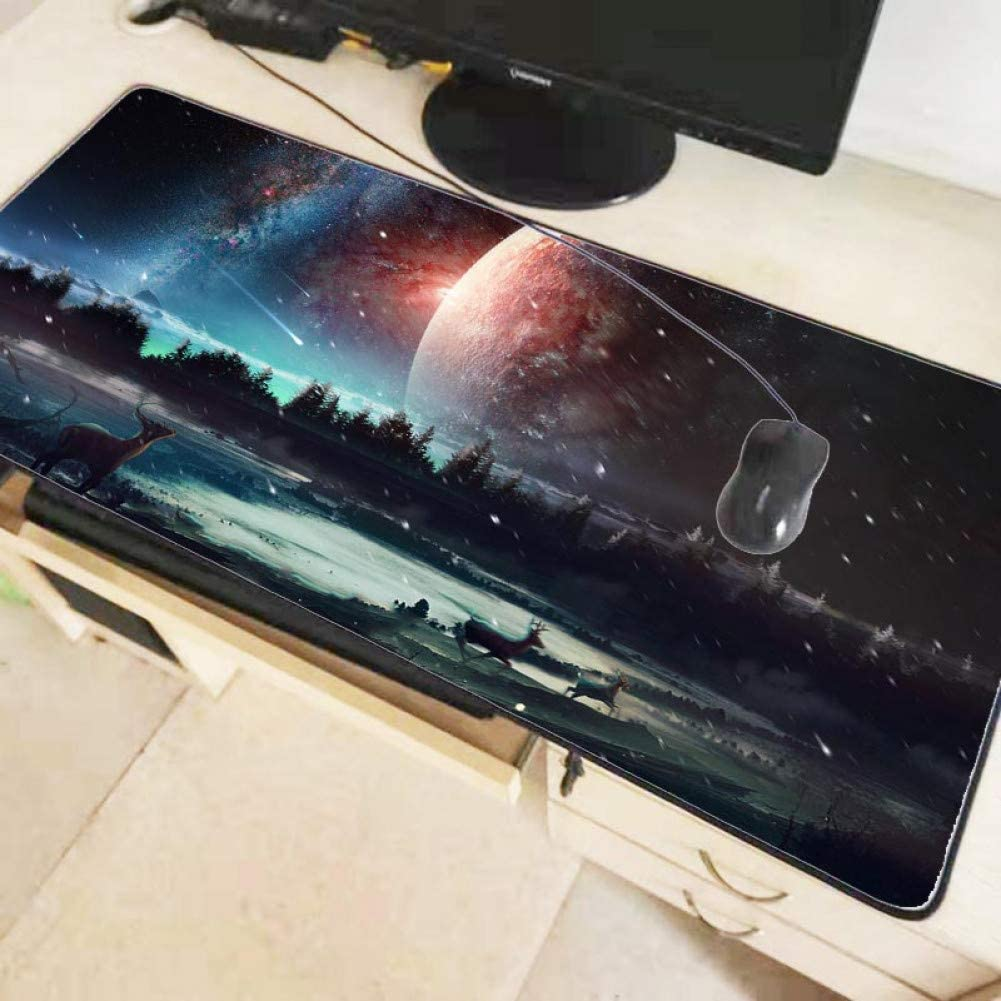 IXNSZ Mouse Pad Colorful Sky Moon Deer Unique Desktop Pad Game Mousepad Gaming Large Mouse Pad Computer Mats Notebook Mice Mats