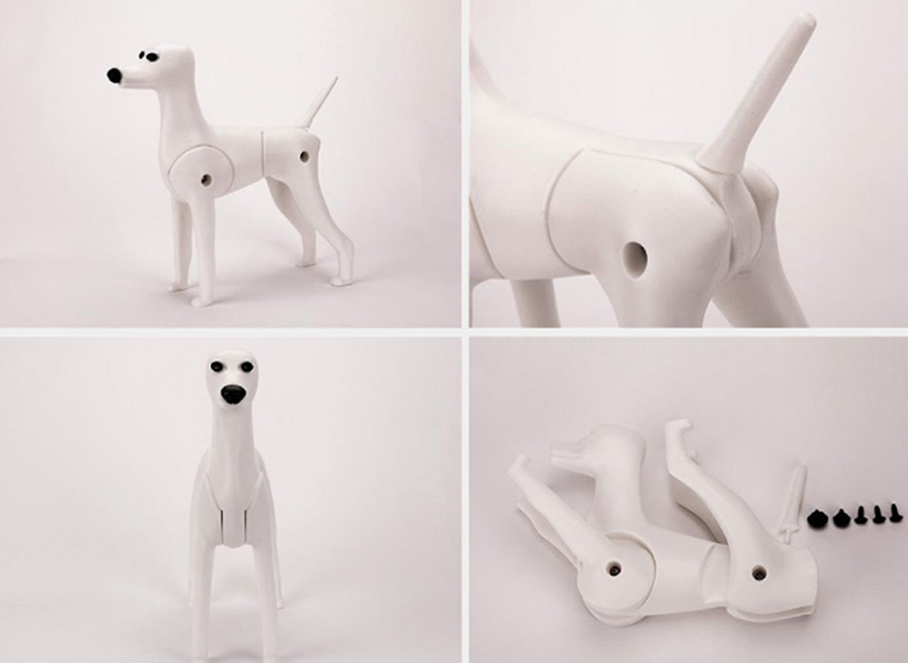 D-Wig Model Dog Only Grooming Practice White Dog Mannequin for Dog Groomers Reinforced Plastic