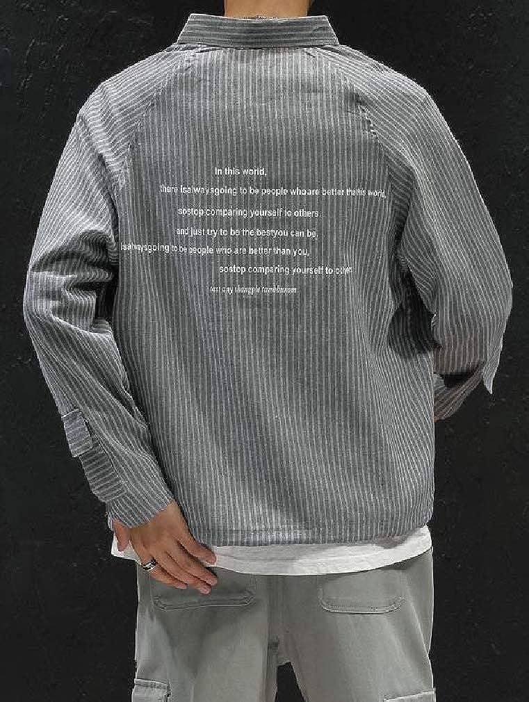 SportsX Mens Long Sleeve Striped Japanese Multi Pockets Casual Longshirt