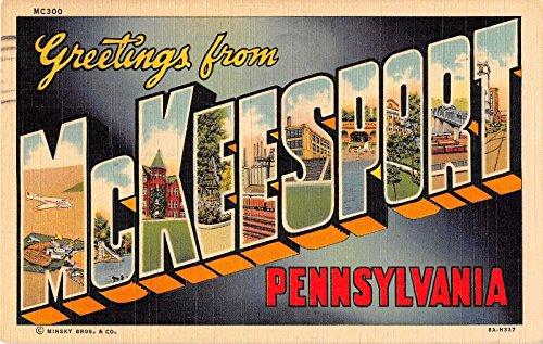 McKeesport Pennsylvania Greetings Large Letter Linen Antique Postcard J17551