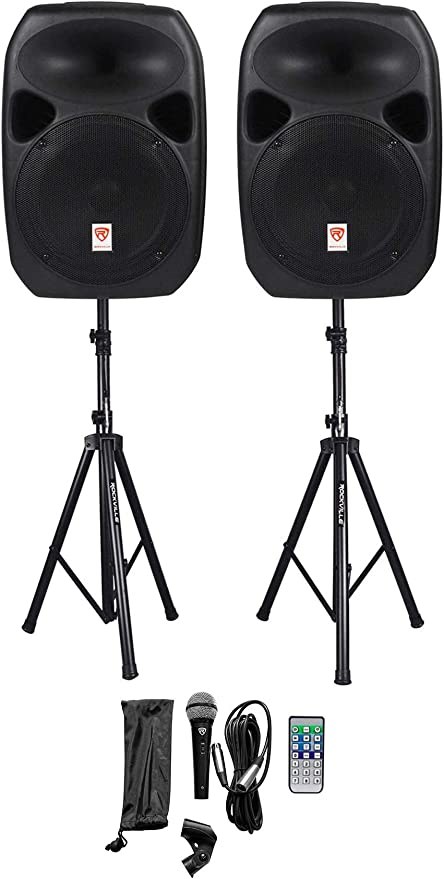 """Rockville RPG9K Dual 9"""" Powered Speakers, Bluetooth+Mic+Speaker  Stands+Cables"""