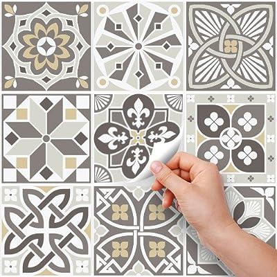 Adhesivo para Azulejos 10x10 cm 54 Stickers Azulejos Piezas Persia Collage de Azulejos Adhesivo Decorativo para Azulejos para ba/ño y Cocina PS00109