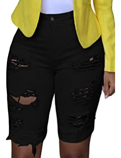 69aeca2be2d GRAPENT Women s Ripped Washed Raw Hem Knee Length Denim Bermuda Shorts Jeans