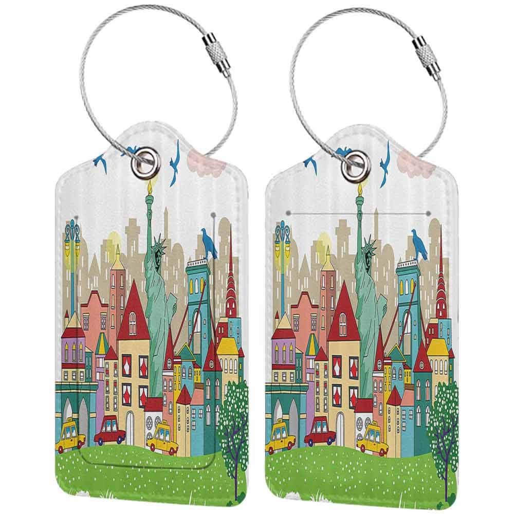 Printed luggage tag USA Decor Urban Theme New York City Statue of Liberty Birds and Buildings Illustration Protect personal privacy Multicolor W2.7 x L4.6