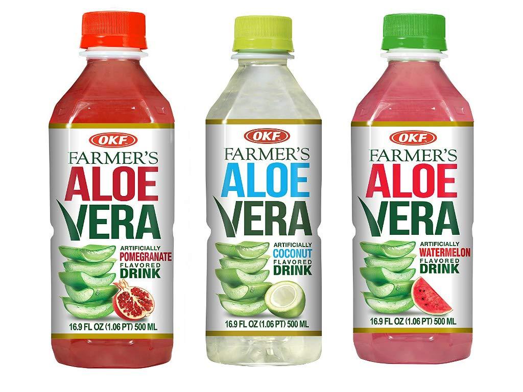 OKF Farmer's Aloe Vera Drink, Pomegranate (16.9 Fl Oz, Pomegranate, Coco, Watermelon)