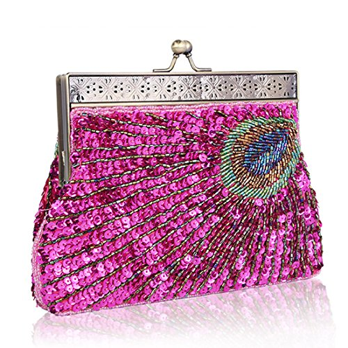 femme Bright Rosy Red clutches TOYIS Pochette pour qTxvpg6R