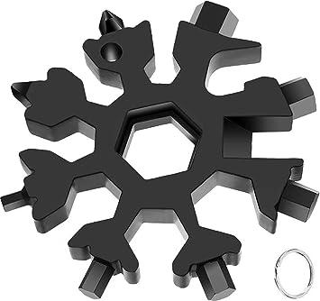 llave inglesa,Multi herramienta copo de nieve Tarjeta de la herramienta del copo de nieve Destornillador de acero Llavero Abrebotellas Tarjeta Oro