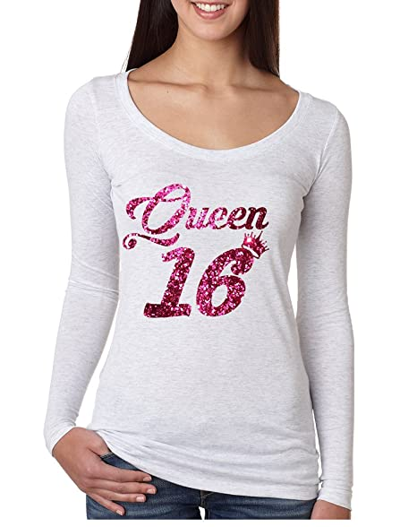 0e706162e Allntrends Women's Shirt Queen 16 Glitter Pink Sweet Sixteen 16th Birthday  at Amazon Women's Clothing store: