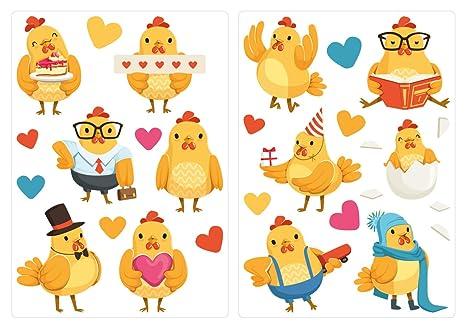 Pegatina de pared Juego de habitación infantil Pollitos dulces como una familia de pollos con corazones y decoraciones ...
