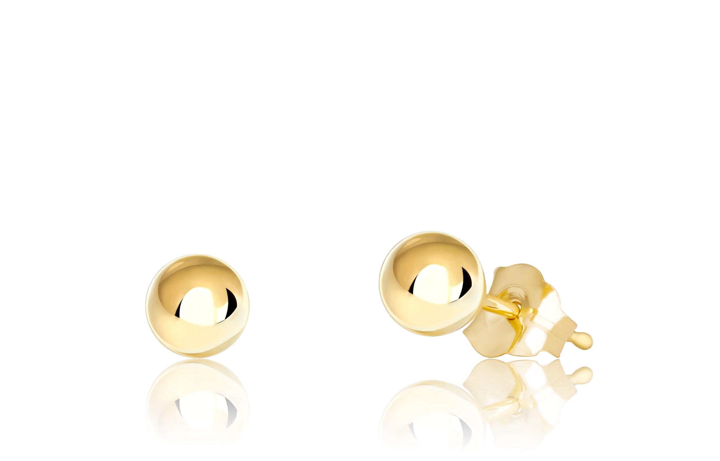 Premium 14K Yellow Gold Ball Stud Earrings (4mm - Yellow Gold)