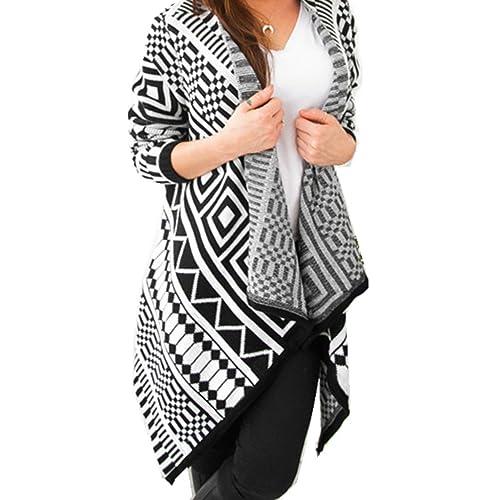 WanYang Mujer Casual Irregular Manga Larga Casual Otoño Outwear De Punto Jersey De Abrigo
