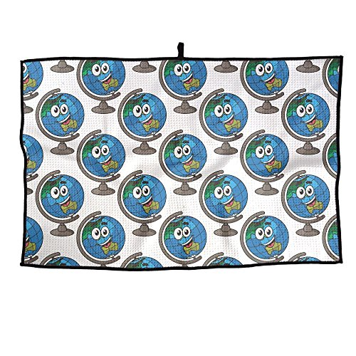 HenSLK Happy Cartoon Globe Smiling Grid Microfiber Cooling Golf Towel Light Weight & Quick Drying & Super Absorbent Sport Travel Towel For Activities