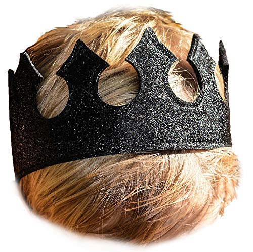 Boy Dress Up Play Time Crown in Midnight Black Glittery Stretchy Birthday Party ()