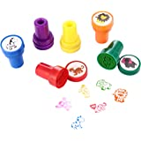 Animal Self Ink Stamps, LUCKYBIRD Best Self Inking Plastic Fun Stamps for Kids, 6 Count