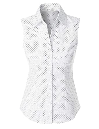f87fe804 LE3NO Womens Lightweight Polka Dots Sleeveless Button Down Shirt,White,X-Small:  Amazon.co.uk: Clothing