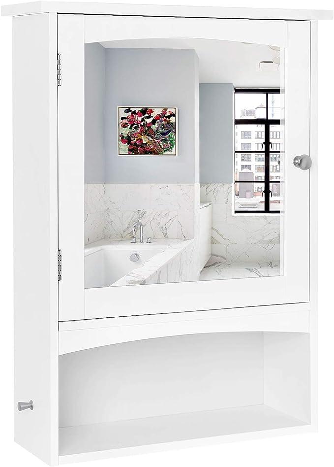 /Étag/ère R/églable et 3 Compartiments Ouverts Meuble de Rangement Mural 60 x 18 x 64 cm VASAGLE Meuble de Salle de Bains avec Miroir Ligneux Blanc BBC23WT
