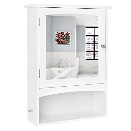 amazon com vasagle mirror cabinet bathroom wall storage cabinet rh amazon com