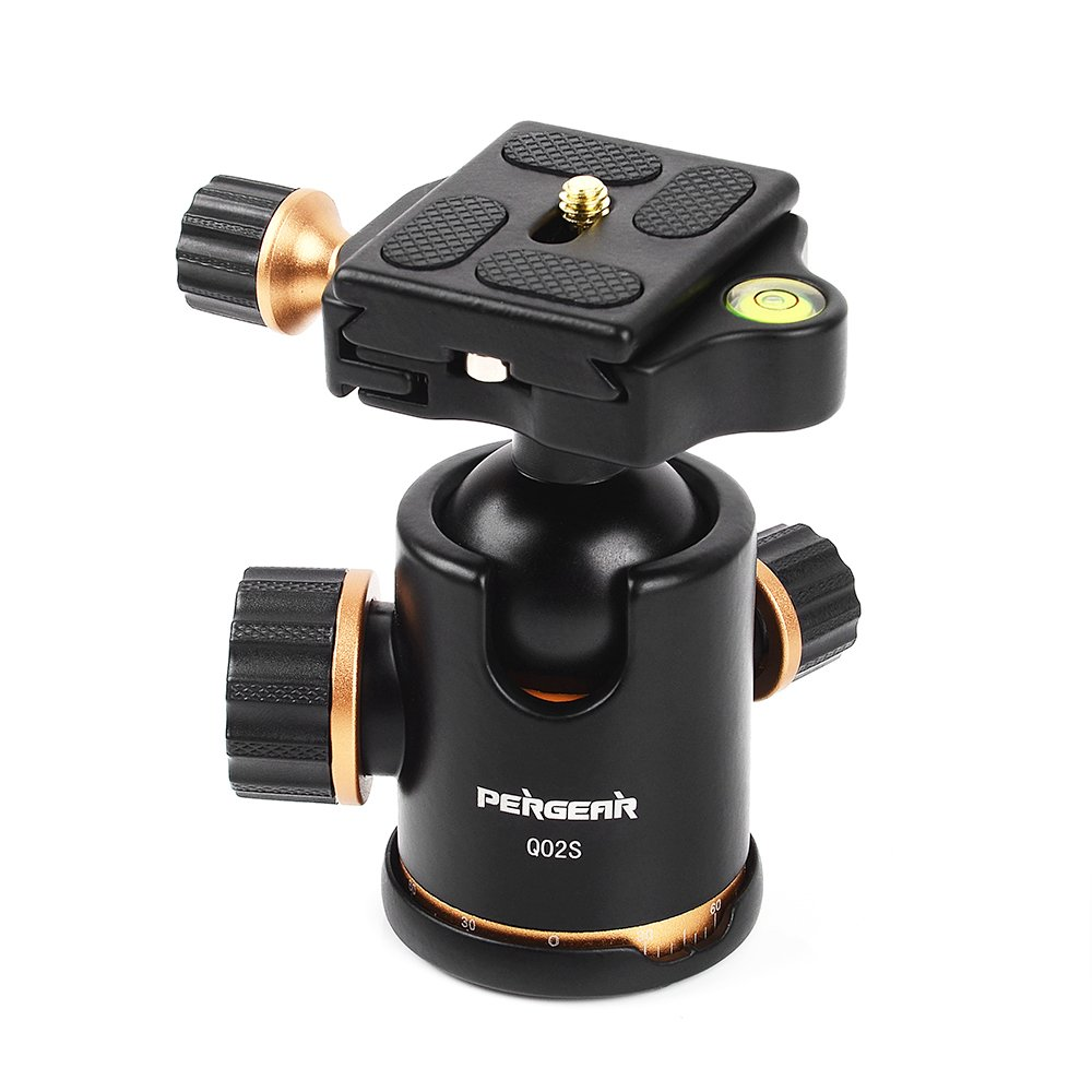 Pergear Q02S DSLR Camera Tripod Ball Head, 8KG/17.6lbs Loading Capacity, 360 Degree Swivel, Metal Build Quality, Fine Tuning Damping, U-Shaped Groove Design for Easy Switching Into Vertical Mode by PERGEAR