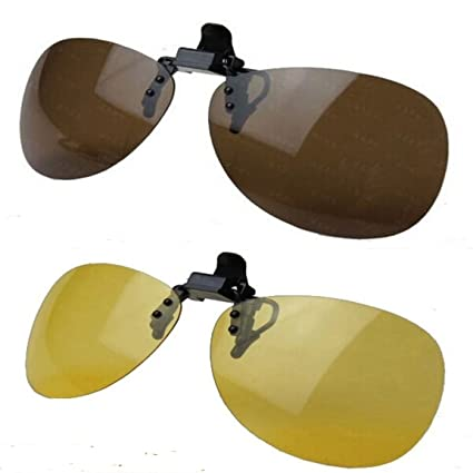 c23aa8f2cdc7 Wonderfulsight 2 Piece Day+Night Vision Polarized Clip-on Flip-up Sunglasses  Necessary