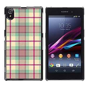 TopCaseStore / la caja del caucho duro de la cubierta de protección de la piel - Design Fabric Pink - Sony Xperia Z1 L39 C6902 C6903 C6906 C6916 C6943