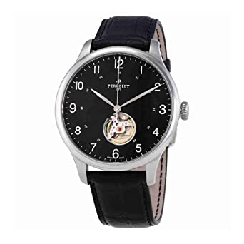 1b1e38b7925 Image Unavailable. Image not available for. Color  Perrelet First Class Open  Heart Automatic Black Dial Mens Watch ...