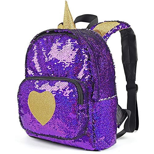 Mini Backpack for Girls Sparkle Flip Reversible Sequin Backpack Glitter Fashion Mermaid Bag Unicorn Backpack Purse Cute and Fun ()