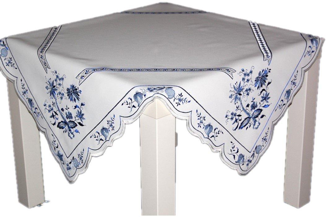 Küchentextilien klassisch Hübsche Tischdecke Plauener Spitze 84x84 cm Eckig Weiß ZWIEBELMUSTER Blau Küche Esszimmer Eleganz Made in Germany (Mitteldecke 84x84 cm)