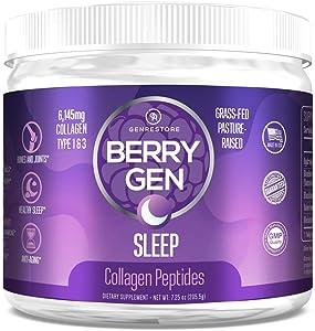 Berry Gen Sleep (3) | Natural Sleep Aid Supplement | Grass-Fed Collagen Peptides Type 1 & 3 | Stress, Anxiety & Insomnia Relief Supplement, Non-GMO, Gluten Free | 205.5 Grams.