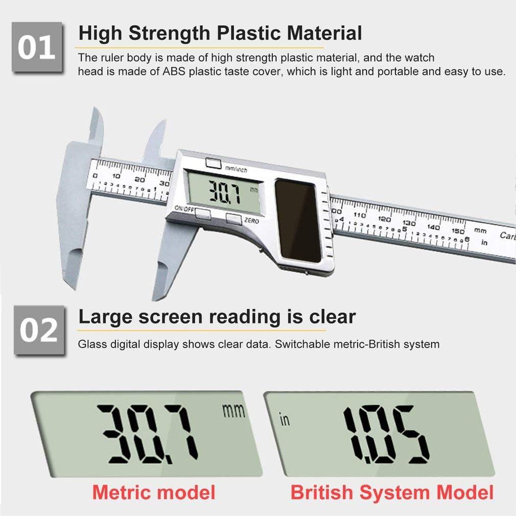 Rziioo 0-150MM Solar Power Electronic Precision Digital Vernier Calipers Ruler Pachymeter Micrometer Measuring Tools Gauge