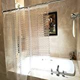 36x72 Inch Stall Size Shower Curtain, Aoohome Clear Eva Shower Curtain 3D Circle Pattern with Hooks, Mildew Resistant, Heavy Duty, Semi Transparent